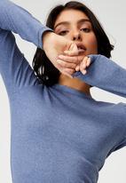 Cotton On - The turn back long sleeve top - coastal blue marle