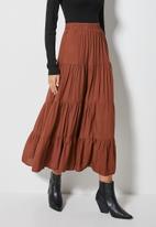 Superbalist - Tiered midi skirt - brown