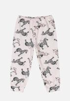 Quimby - Baby girls horse print pants - off white & pink