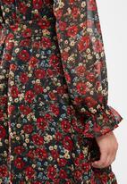 Missguided - Frill neck midi smock floral dress - multi