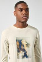 Superbalist - Nate long sleeve recycled graphic tee - stone