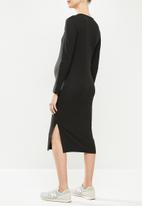 Superbalist - Long sleeve Henley column dress - black