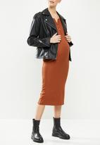Superbalist - Long sleeve henley column dress - rust