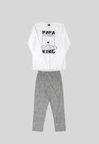 Quimby - Boys printed pyjama set - white & grey