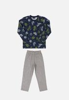 Quimby - Boys printed pyjama set - navy & grey