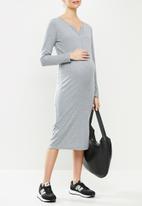 Superbalist - Long sleeve henley column dress - grey melange