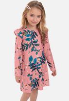 Quimby - Girls long sleeve floral dress - pink & green