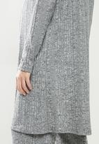 Superbalist - Ribbed open midi cardi - light grey