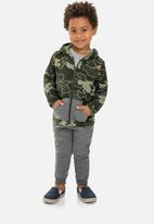 Quimby - Baby boys sweatpants & hoodie set - green & grey