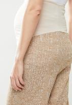 Superbalist - High waist rib wide leg - oatmeal melange
