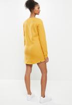 Aca Joe - Basic crew terry dress - mustard