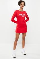 Aca Joe - Basic crew terry dress - red