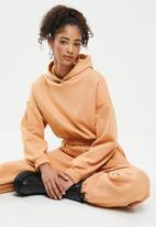 Blake - Cropped hoodie with elastic-peach