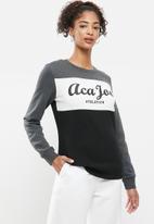 Aca Joe - Fleece pullover crew - grey & black