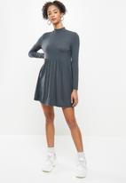 Blake - Long sleeve babydoll mini dress with turtleneck-flat charcoal