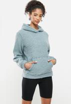 Blake - Sherpa pocket detail front hoodie- smoke blue