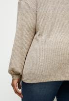 edit Plus - Long sleeve high neck balloon drop shoulder top - taupe