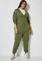 Superbalist - Long sleeve fleece easy fit jumpsuit - khaki