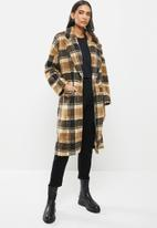 Me&B - The teddy coat in check - brown