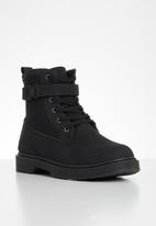 Seduction - Buckle lace up hiking boot - black