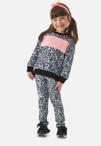 UP Baby - Girls animal print sweatshirt & legging set - blue