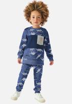 UP Baby - Boys dino sweatshirt & sweatpants set - blue