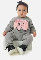 UP Baby - Girls printed sweatshirts & pants set - grey