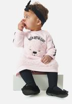 UP Baby - Faux fur sweat dress - pink
