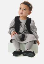 UP Baby - Girls sleeveless jacket & dress set - grey & black