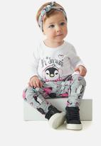 UP Baby - Girls tee, pants & headband set - white