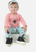 UP Baby - Girls tee, pants & headband set - pink