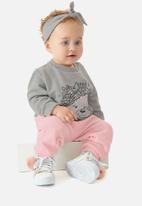 UP Baby - Girls sweatshirt and ribbed pants set - grey