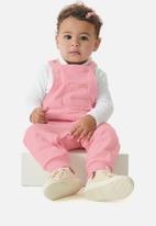 UP Baby - Girls dungaree & ribbed top set - pink