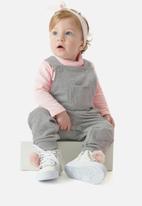 UP Baby - Girls dungaree & ribbed top set - grey