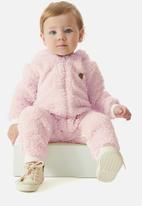 UP Baby - Faux fur babygrow - light pink