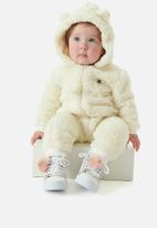 UP Baby - Faux fur babygrow - off white
