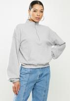 Missguided - Coord zip sweatshirt kangaroo pocket - grey