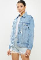Missguided - Distressed oversized boyfriend jacket - light blue