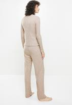Superbalist - Sleep top & wide leg pants set - stone