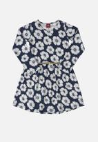 Bee Loop - Girls floral dress with belt - dark blue