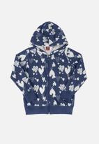 Bee Loop - Girls puppy print hoodie - dark blue
