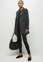 edit - A-line boucle coat - dark grey