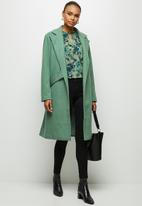 edit - Tie detail long coat - green