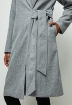 edit - Tie detail long coat - grey