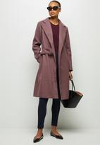 edit - Tie detail long coat - light burgundy