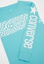 Converse - Cnvb warped checker logo tee - light blue