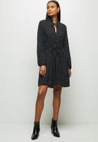 MILLA - Tie detail collar mini dress - black