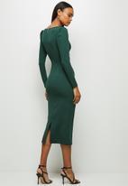 MILLA - Knit square neck dress with tucks - green
