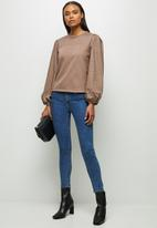 MILLA - Woven knit combo sweatshirt - brown