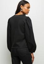 MILLA - Woven knit combo sweatshirt - black